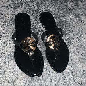 New Tory Burch Black and Gold Sandals